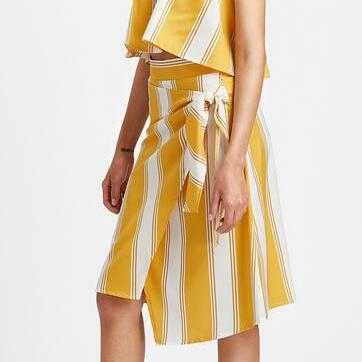 Yellow and White Striped Two-Piece ..
