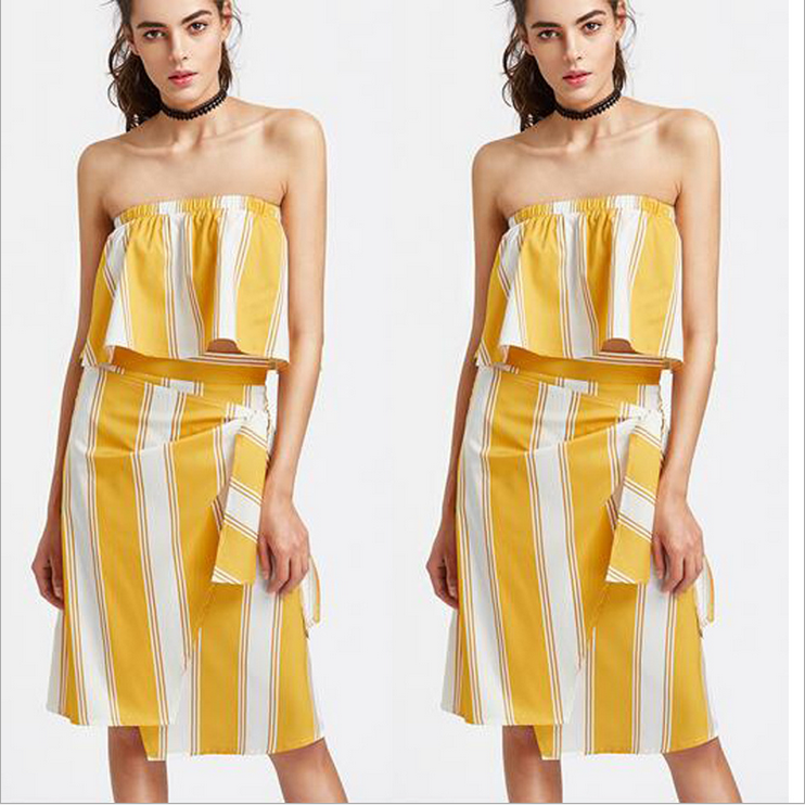 Yellow and White Striped Two-Piece Dress Featuring Strapless Top and Knee Length Wrapped Skirt