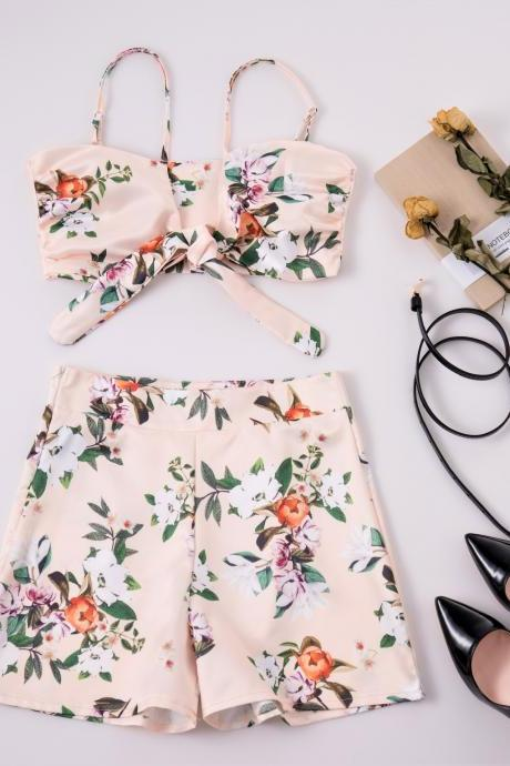 Floral Print Two-Piece Set Featuring Spaghetti Strap Cropped Top with Tie Back and Shorts